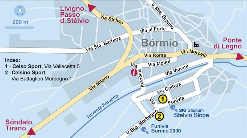 Bormio Italy Map.Ski And Snowboard Rental In Bormio Celsino Sport Rent And Go